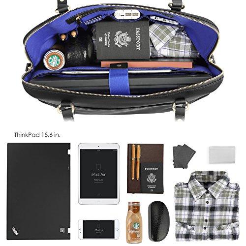 CHICECO Reise Tasche Damen Shopper Aktentasche für 15,6 Zoll Laptops Bücher - Schwarz