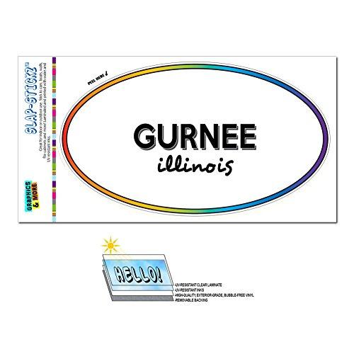 Graphics and More Rainbow Euro Oval Window Laminated Sticker Illinois IL City State Gle - Mac - (City Of Gurnee Il)