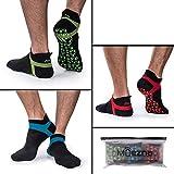 Non Slip Men's and Women's Yoga Socks, Anti-Skid Pilates, Barre, Bikram Fitness Hospital Socks with Grips (3 Pack)