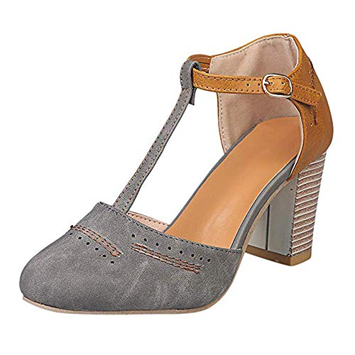 Yu Li Womens Classic T-Strap Buckle Sandals Chunky high Heels Vintage Oxfords Mary Jane Pump Shoes Hollow Shoes Gray 42