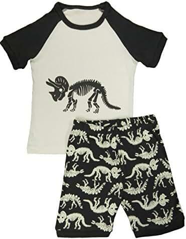 Family Feeling Little Boys Dinosaur 2 Piece Pajamas Shorts 100% Cotton Sleepwear