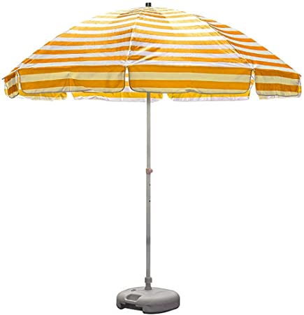 Erru Parasol Jardin 8,2 Pies de Sombrillas de Playa Amarillo y Blanco Sombrilla Exterior con Ancla de Arena, para Patio Garden Yard, Fácil de Instalar (Color : with Base): Amazon.es: Hogar