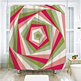 Hexagon Pink Multi Shower Curtain scocici Bathroom Curtain Separation Door Curtain Shower Curtain,Geometric,Abstract Hexagon Vortex with Vivid Colors Intertwined Shapes Illustration,Green Pink Coral,70.8