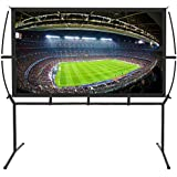 "Portable Projector Screen with Stand, Indoor and Outdoor Movie Screen 120"" Diagonal 16:9 with Wrinkle-Free Design (Easy to Clean, 1.1 Gain, 160° Viewing Angle and Includes a Carry Bag) (120"")"
