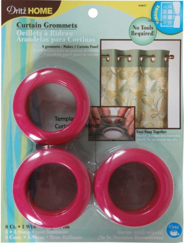 Dritz 44447 Curtain Grommets, Hot Pink, 1-9/16-Inch, 8-Pack