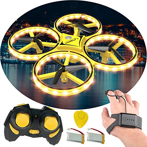 PUSITI Gesture Control UFO Remote Control Bright LED Stunt Drone RC Quadcopter Toys Gravity Sensing Aircraft for Kids 3D Flips 3 Models for Control Crash Proof Easy Beginner - 3d Aircraft Models