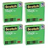 3M Magic Tape, 1'' Core, 1/2''X1296'' , 4 Pack (810)