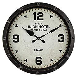 Windy Hill Collection 16 x 16 Vintage Decorative Wall Clock Union Hotel Paris France White Face Black Rim WC9-EA6063