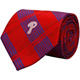 MLB Philadelphia Phillies Red-Blue Poly Plaid Woven Tie