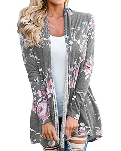 Cardigan Jacket Top (Xinglan Women's Casual Long Sleeve Floral Print Cardigan Outwear Tops Jackets(Grey/l))