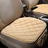 DEALPEAK Anti Slip Car Seat Cushion Cover Pad Mat Lattice Pattern Auto Chair Cushion with Velvet Elastic Plush for Auto Car Supplies (Color : Beige)