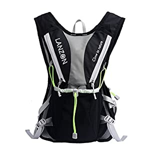 LANZON 2L / 2 Liter Hydration Pack, Running Vest (Black pack only)