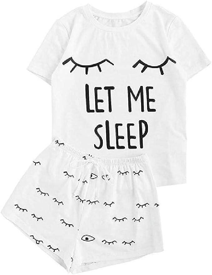 Conjunto de Pijama de Moda para Mujer, Pantalones Cortos de Manga Corta, Camiseta, Ropa de Dormir, Ropa de Dormir: Amazon.es: Ropa y accesorios