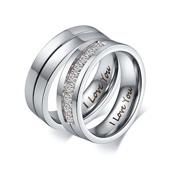 Aeici His &Hers I Love You Matching Rings Endless Love Stainless Steel Ladies Ring for Women Men Inlaid 9 CZ - 51yR74ZslsL - Aeici His &Hers I Love You Matching Rings Endless Love Stainless Steel Ladies Ring for Women Men Inlaid 9 CZ