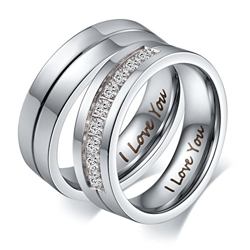 Hand Engraved Wedding Band - Aeici Jewelry Couple Ring Engraved I Love You Stainless Steel Wedding Band