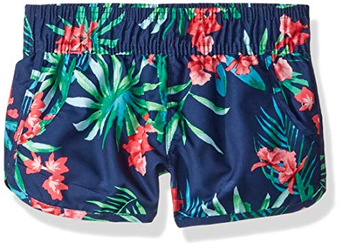 Kanu Surf Little Girls' Sandy UPF 50+ Quick Dry Beach Elastic Waist Boardshort, Leonie Navy Floral, Medium (5) (Floral Boardshorts)