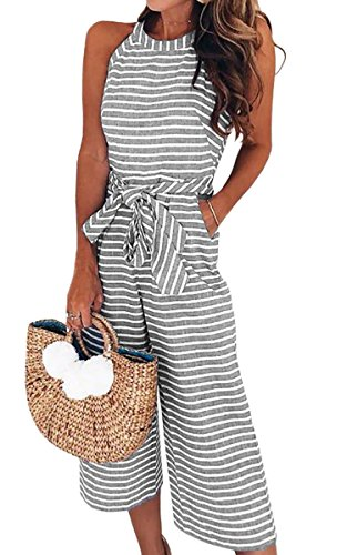 (ECOWISH Women's Summer Striped Sleeveless Waist Belted Zipper Back Wide Leg Jumpsuit Romper with Pockets 0930 Gray)