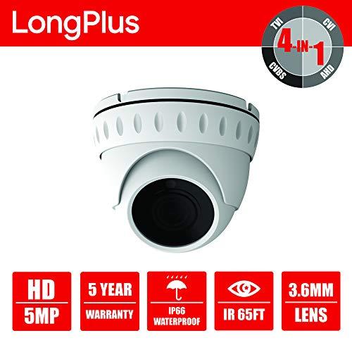 LongPlus HD-Tvi 5MP CMOS 4-in-1 CCTV Home Surveillance Ip66 Weatherproof IR Cut Dome Security Camera, White (LPHDC5MDM)