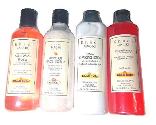 Khadi Herbal Organic and Natural Mini Home Facial Kit - Combo of 4 (Rose face Wash +Cleansing Lotion + Apricot Scrub + Peel Off (Mini Peel Kit)