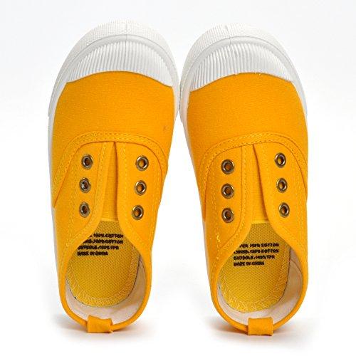 ESTAMICO Zapatillas de deporte de lona de suela de goma de los niñas Amarillo