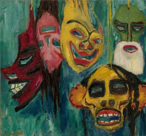 (High Quality Polyster Canvas ,the Amazing Art Decorative Canvas Prints Of Oil Painting 'Emil Nolde,Masks,1911', 24x26 Inch / 61x65 Cm Is Best For Powder Room Gallery Art And Home Decoration And Gifts)