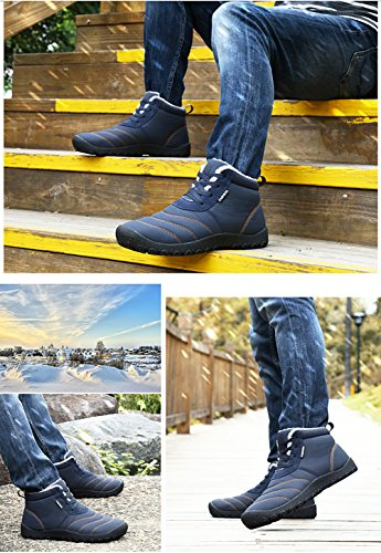 Fexkean Unisex Warm Snow Boots Slip On Winter Shoes With Soft Fur Waterproof Ankle Bootie For Men and Women DF-Blue pfg8mlRLp