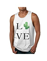 Rongyingst Men's Cotton Love Cactus Sleeveless Shirt Summer Tee White