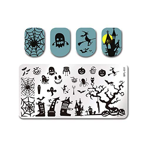 Nail Stamping Plate Skull Pumpkin Rectangle Image Template Zombie Ghost Nail Art Stamp -