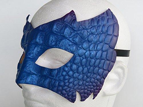 Costume Metallic Blue Purple Leather Dragon Skin Eye Mask Authentic Unisex Masquerade Half Mask Mardi Gras Prom Halloween Masquerade (Reptile Mask)