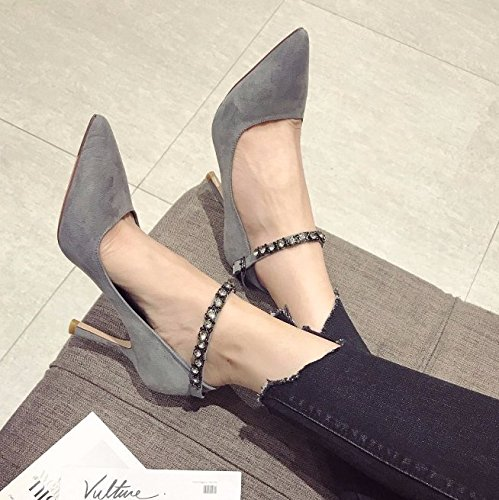 Lady With Buckle Heels Shallow Fashion Shoes High Pointed 9Cm MDRW Ladies Single Work Diamond Leisure Shoe Blue Elegant Spring 35 Fine Mouth A dFFqPwzH