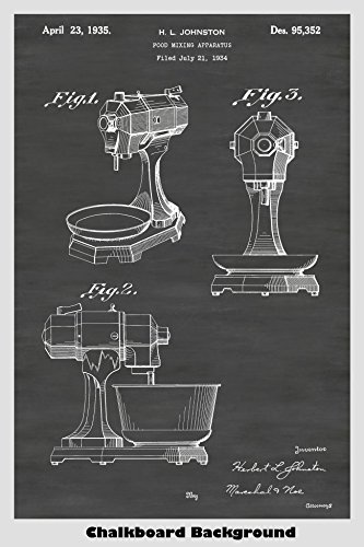 Antique KitchenAid Mixer Poster Patent Print Art Poster: Choose From Multiple Size and Background Color Options