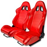 Type One Style Fully Reclinable Faux Leather Sport Racing Seats with Red Stitch (Pair of Red)