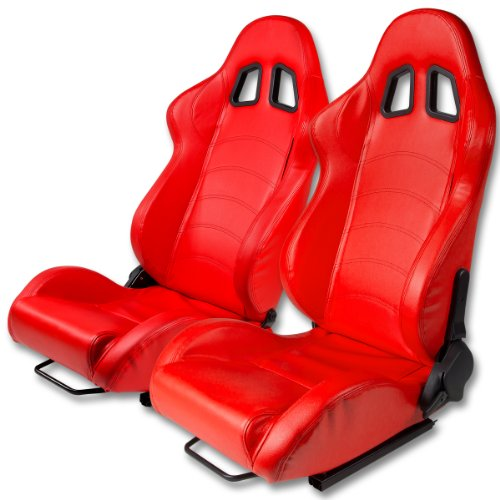 Type One Style Fully Reclinable Faux Leather Sport Racing Seats with Red Stitch (Pair of (Racing Seat Sport Type)