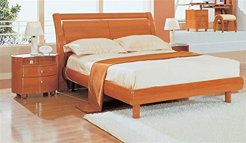Global Furniture USA Wood Sleigh Full Bed in Cherry Finish