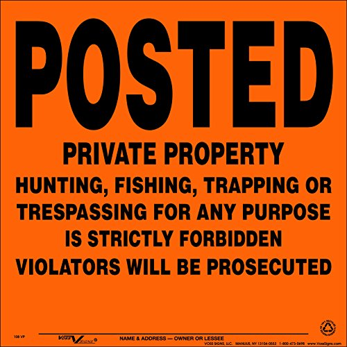 Voss Signs Orange Aluminum Posted Private Property Signs (100 pack) by Voss Signs®