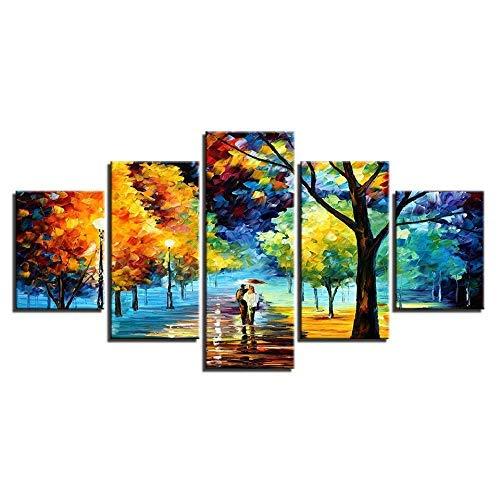productos creativos Frame BAIF 5 Unidades Arte de la Pintura de de de la Lona Pintura de la Lona Marco de Estilo de Parojo 5 Panel árbol Imágenes para la Sala de Estar Amantes Modernos Decoración Lámpara de La Calle Pintura 10x15 10x20 10x25cm  entrega rápida