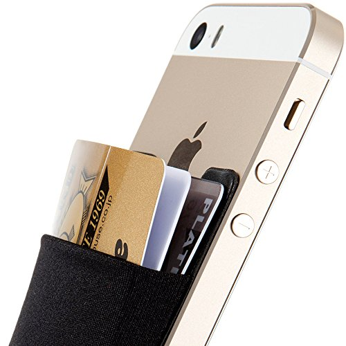 Credit Card Wallet, Sinjimoru Stick-On Wallet Functioning as Wallet case, Credit Card Case on iPhones and Androids. Sinji Pouch Basic 3, Black. (Lg G3 Titanium Case)