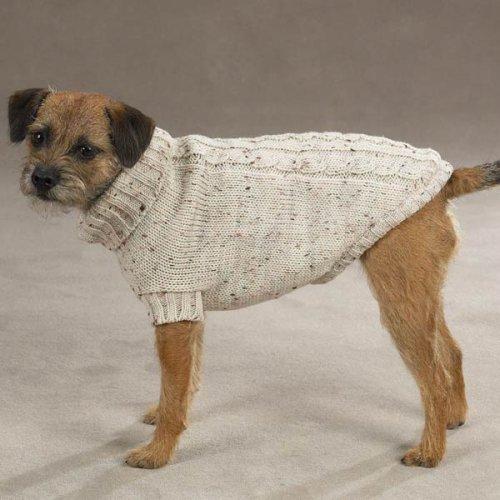 Dog Sweater - Dublin Knit/Irish Knit Pet Sweater Oatmeal - Small ()