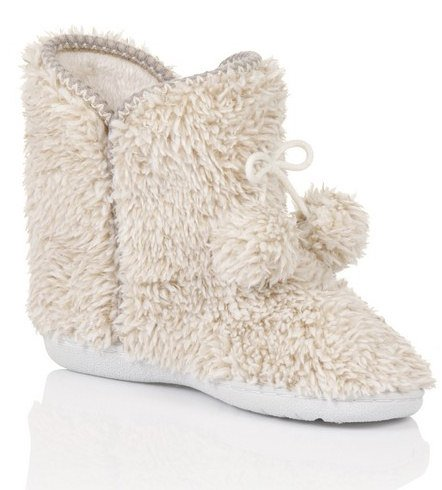 Luxury Ladies Boot Slipper with Rubber Sole and Fur Lining, Various Styles, Sizes 3 - 8 Taupe Marl