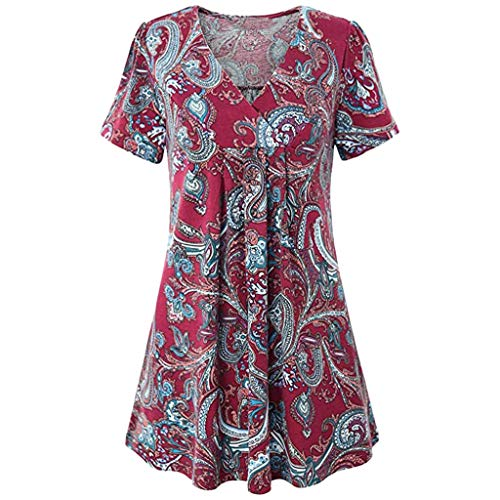 Henleys,Toimoth Womens Short Sleeve V Neck Floral Printed Ruffle Shirt Loose Zipper Tunic Tops (Red 1,S) (Blouse Tangerine Floral)
