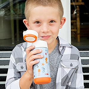 Snug Flask for Kids - Vacuum Insulated Water Bottle with Straw (Sealife)