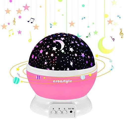 ESONSTYLE 星空投影ライト 子供へ スタープロジェクター 投影ランタン 月と星の照明ランプ 子供への魔法 7色変化モード LED電球 360°回転 家庭用 ロマンチック 結婚式、誕生日、パーティー、寝室、子供部屋、 赤ちゃんの保育園 雰囲気つくり USB充電式と乾電池 (ピンク)