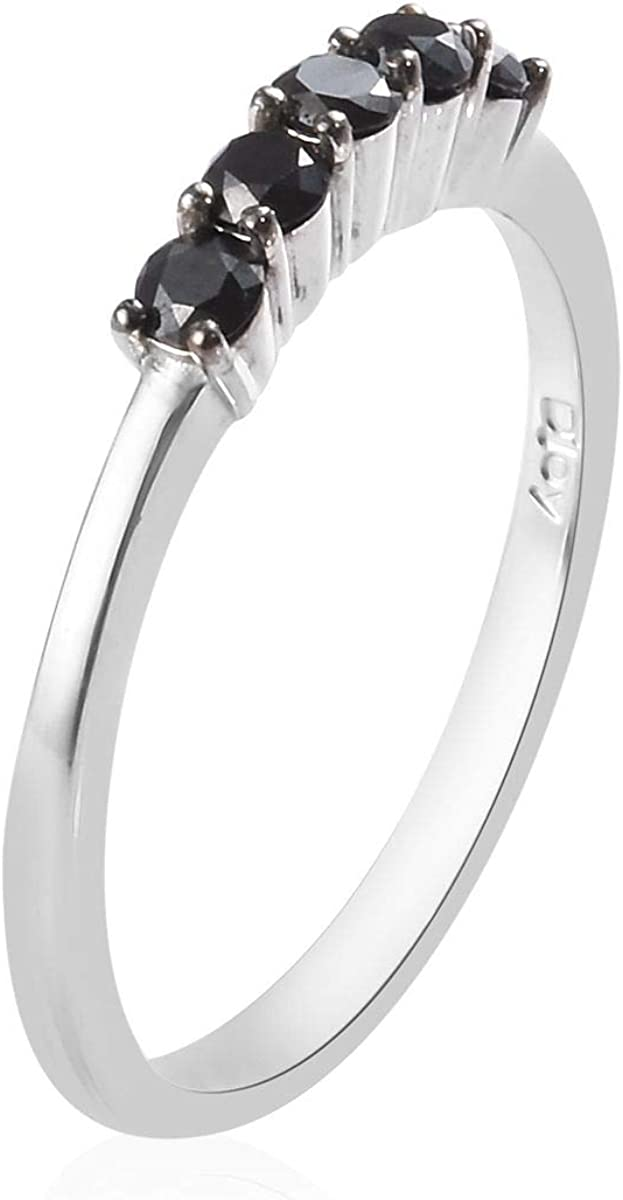 925 Sterling Silver Platinum Plated Round Black Diamond Promise Ring Anniversary Jewelry Gift for Women Ct 0.5 I3 Clarity