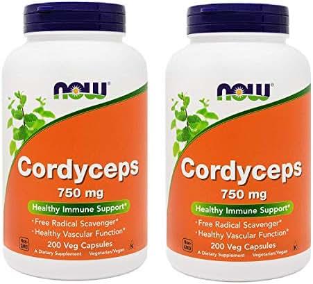 NOW Foods Cordyceps 200 Vegan Caps (Pack of 2), 750mg, Organic Cordyceps Sinensis Mycelium Mushroom Powder - in Non-Organic Capsules - Non-GMO VCaps