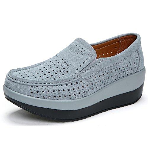 Pelle SUO Scamosciata comode Scarpe Loafers Moda 1 Z in Donna Mocassini da Grigio Guida xdS6wnXqI