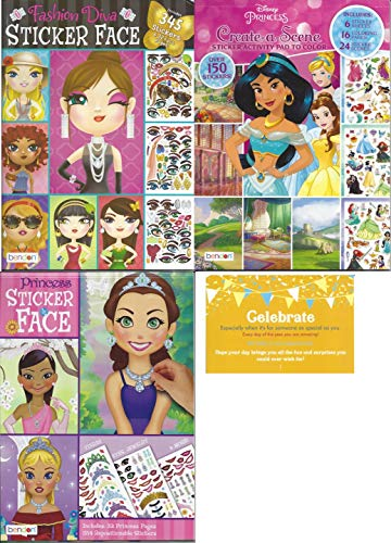 Create a Face Bundle Princess. Inlcludes 1 Princess Sticker Face, 1 Fashion Diva Sticker Faces, 1 Disney Princess Create a Scene and 1 Celebrate Post Card