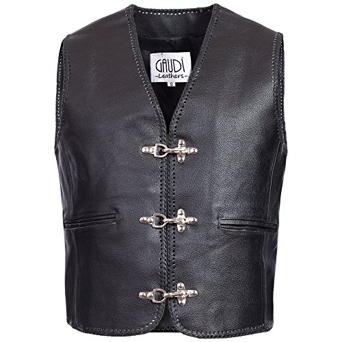 Gaudi-leathers Mens Leather Waistcoat Motorcycle Motorbike Chopper Biker Vest 4XL Black