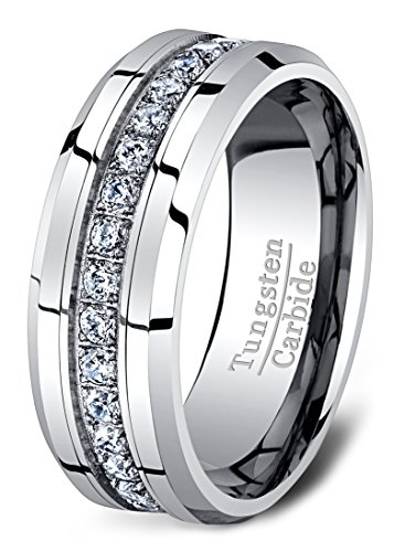 Mens Wedding Band Classic 8mm Tungsten Ring Polished Fully Stacked Cubic Zircon Beveled Edge Comfort Fit (9)