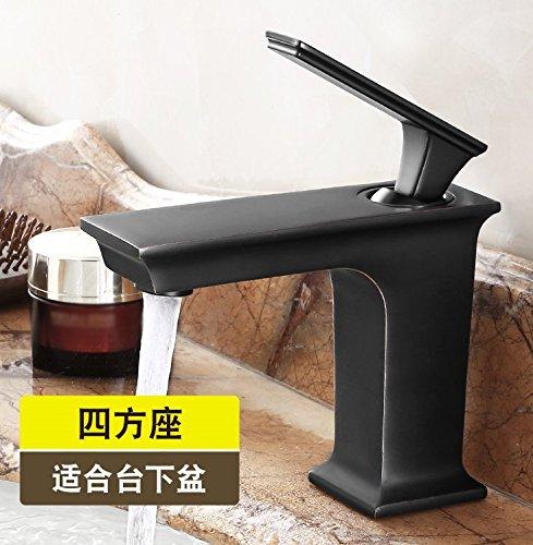 AWXJX Wannenhahn Kupfer einfachen Stil Badezimmer waschen Sie Ihr Gesicht Heiße und kalte Schwarz