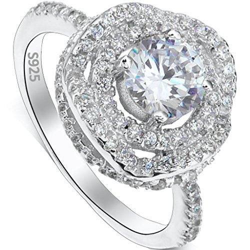 EVER FAITH 925 Sterling Silver Rose Flower 4 Claw Setting .25ct CZ Engagement Ring Clear - Size (Four Claw Setting)